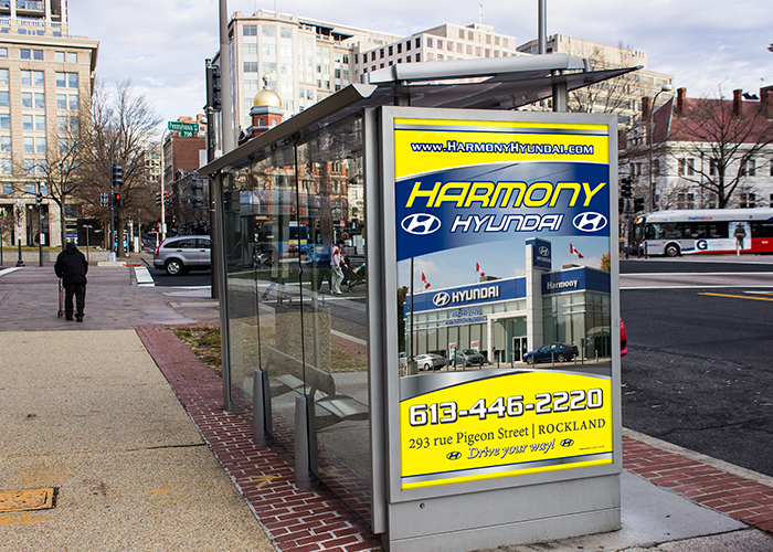 Harmony Hyundai Bus Shelter Sign 2