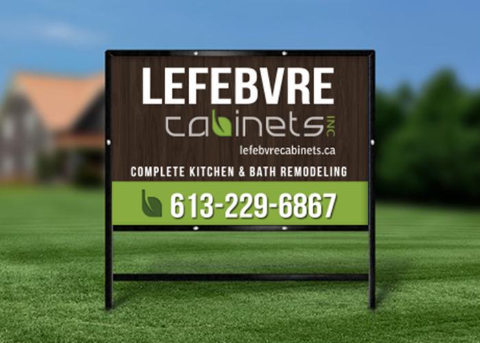 Lefebvre Cabinets Lawn Sign