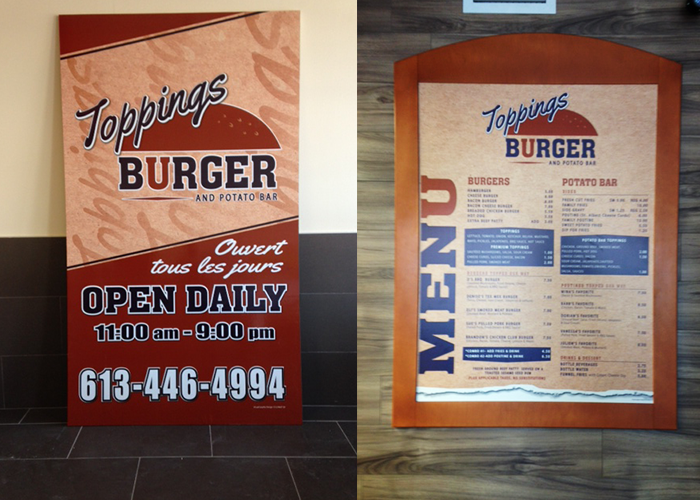 Toppings Burger Sign